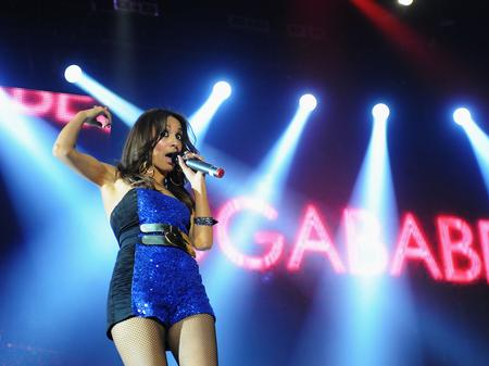 Amelle from the Sugababes live at the Jingle Bell