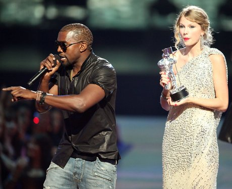 Kanye West and Taylor Swift on stage at the MTV VMAs