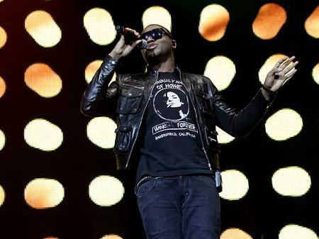 Taio Cruz on stage at the Jingle Bell Ball