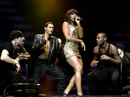 Alexandra Burke on stage at the Jingle Bell Ball