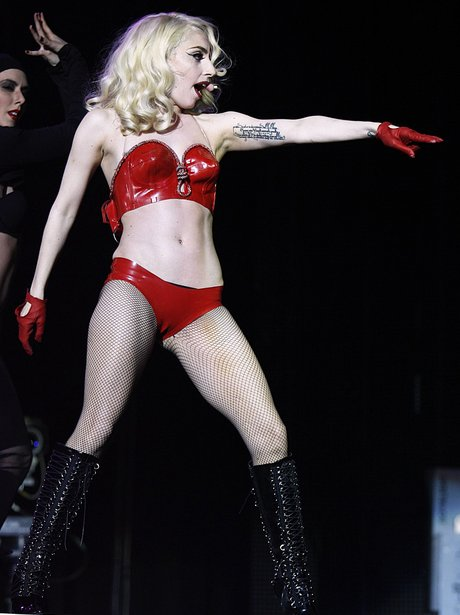 Lady Gaga performing on her 'Monster Ball' tour.