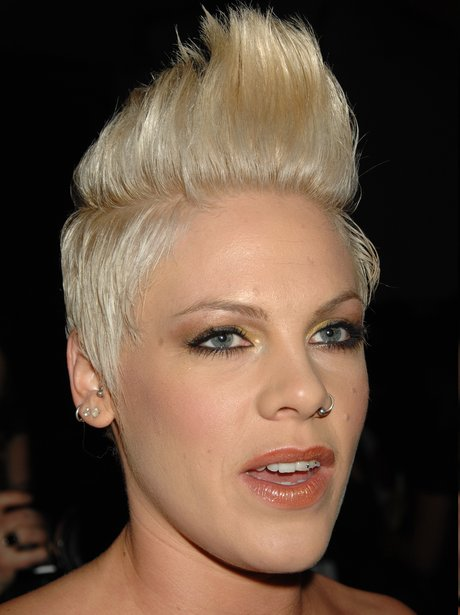 Pink reveals her coiffed blonde hairstyle.