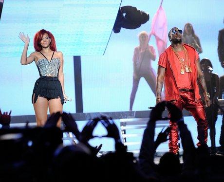 Rihanna and Kanye Westat The NBA All-Star Game