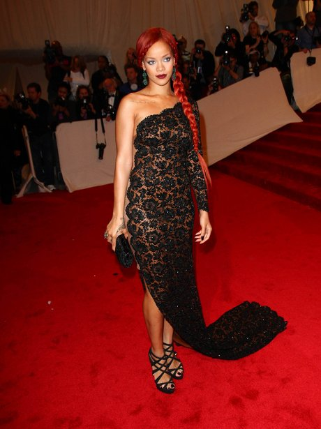 Rihanna in black lace dress