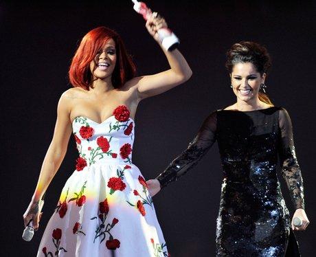 Cheryl Cole and Rihanna at the BRITS 2011