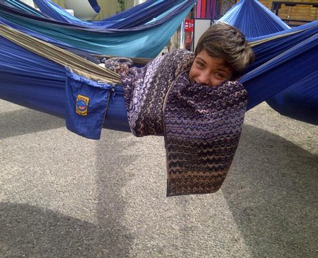 Frankie from The Saturdays lies in a hammock