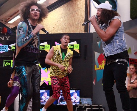 LMFAO perform at the MLB Fan Cave