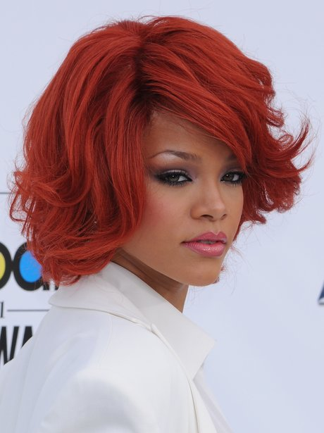 Rihanna with a red bob haircut