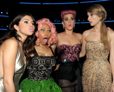 Nicki Minaj, Katy Perry, Selena Gomez and Taylor Swift pouting with pink lipstick