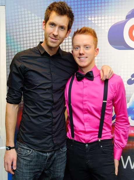 Calvin Harris and James Barr backstage at the 2011