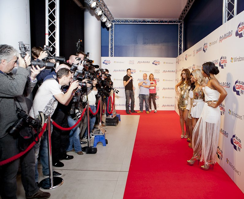 The Saturdays arrive at the 2011 Jingle Bell Ball