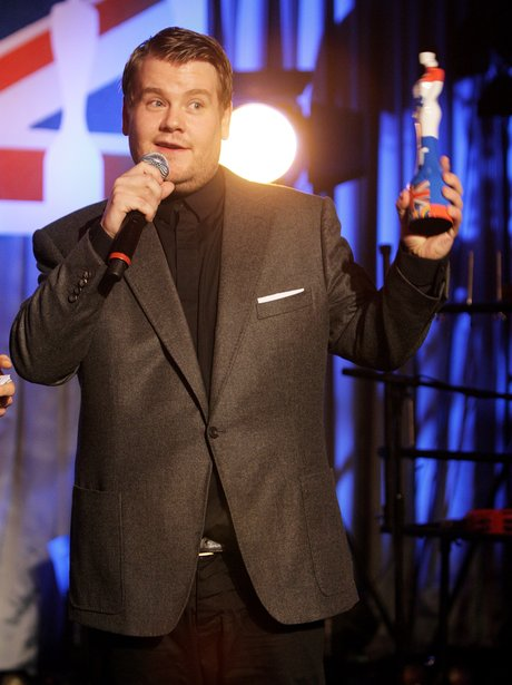 James Corden on stage at the 2012 BRIT awards nominations