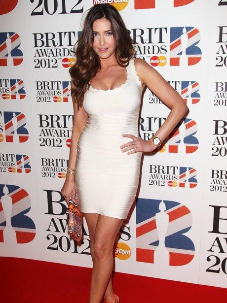 Lisa Snowdon arrives at the BRIT Awards 2012