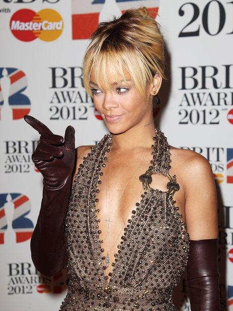 Rihanna arrives at the BRIT Awards 2012