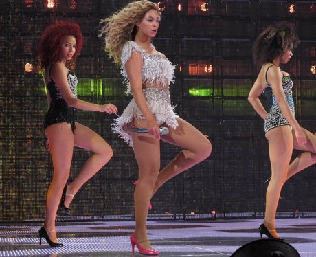 Beyonce performing live on stage