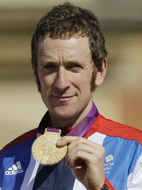 Bradley Wiggins with his Olympic gold medal