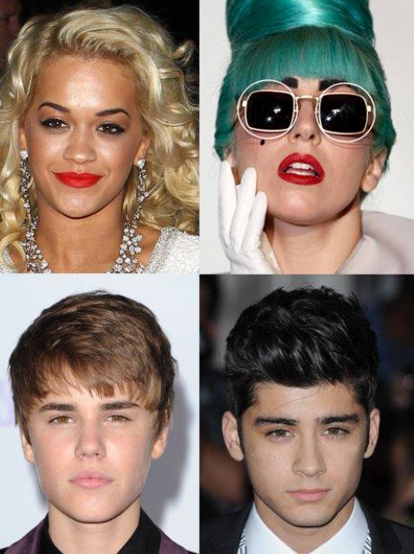 Rita Ora, Lady Gaga, Justin Bieber, Zayn Malik