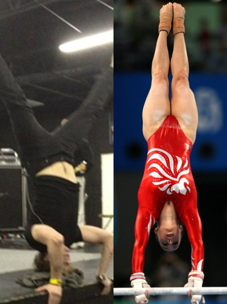 Jay McGuiness and Beth Tweddle doing a handstand.