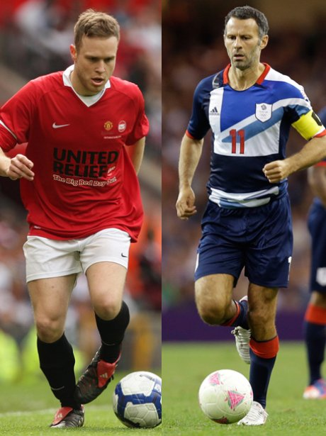Olly Murs and Ryan Giggs playing football.