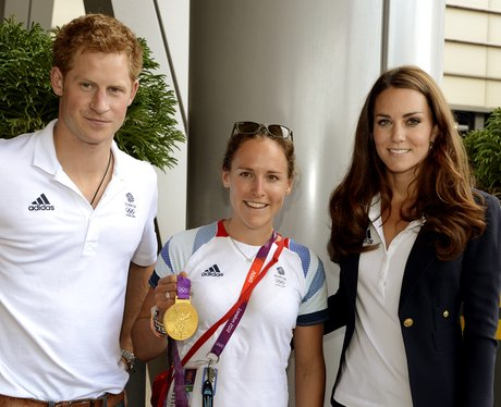 Prince Harry and Kate Middleton with Sophie Hosking at London 2012
