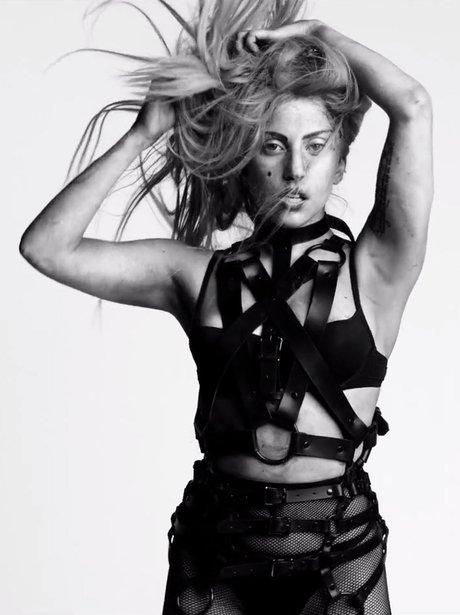 Lady Gaga wears bondage inspired outfit.
