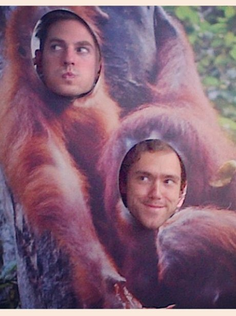 Lawson pose inside a comical Orangutan cut-out.