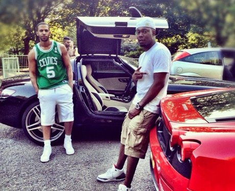 Marvin Humes and Dizzee Rascal with their cars