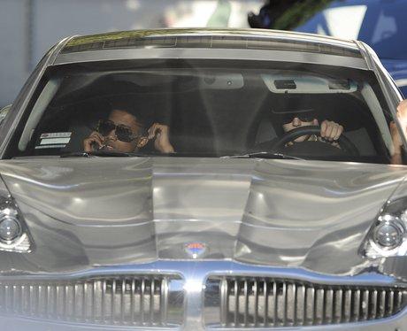 Justin Bieber driving in his car