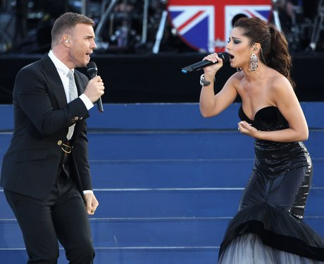 Cheryl Cole and Gary Barlow on stage together