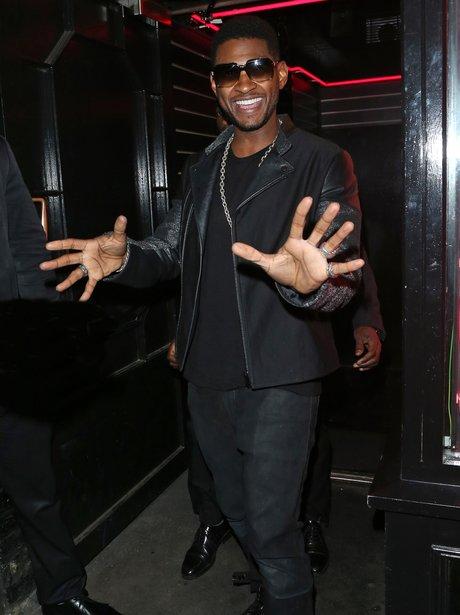 Usher celebrating his birthday.