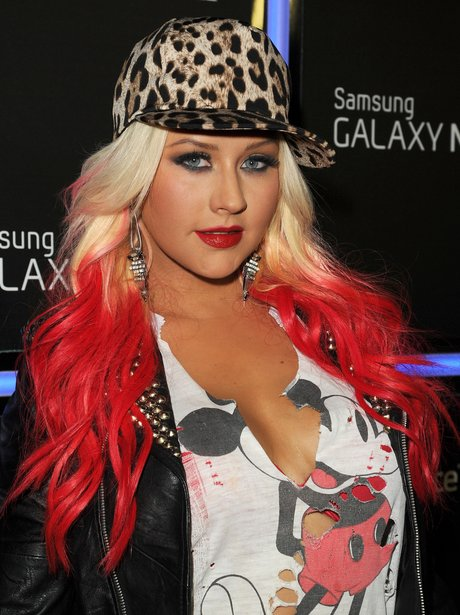Christina Aguilera with red hair