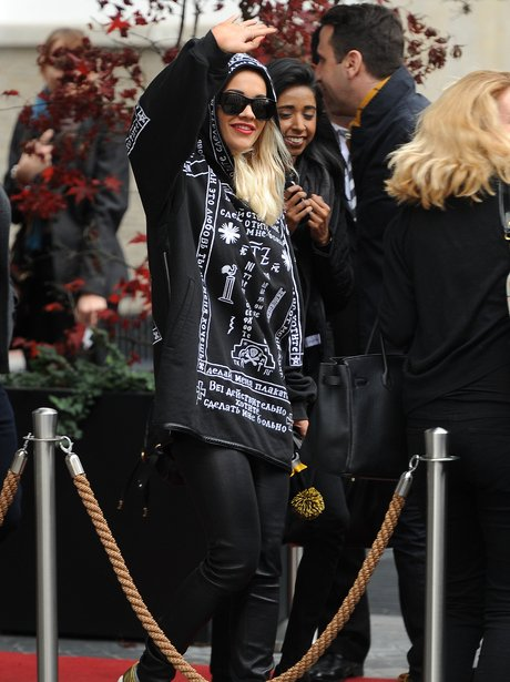 Rita Ora waving to fans in Germany