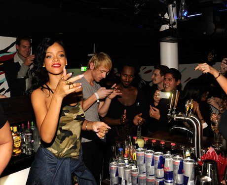 Rihanna celebrates at her after party
