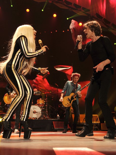 Lady Gaga performs with The Rolling Stones