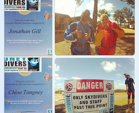 JB from JLS and girlfriend skydive in Australia
