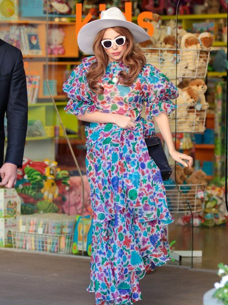 Lady Gaga wearing a long floral dress