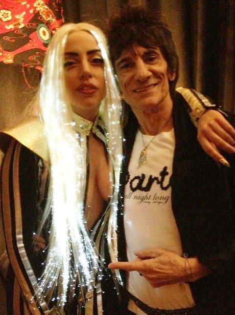 Ronnie Wood and Lady Gaga backstage