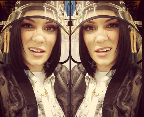 Jessie J wearing a see-through hat