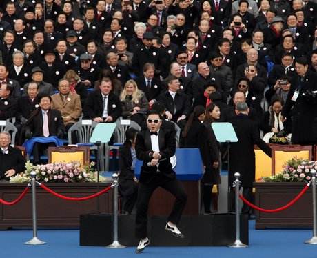 PSY performing at the South Korean presidential elections