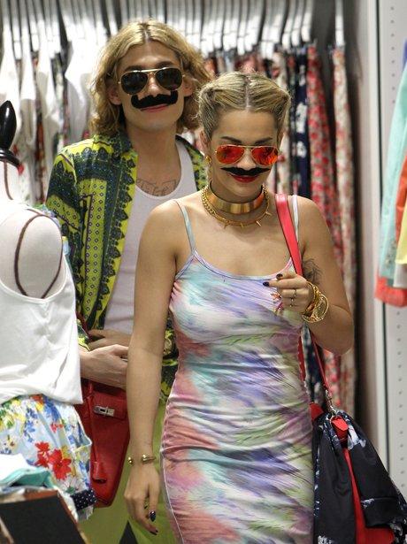 Rita Ora wearing a moustache on Sydney