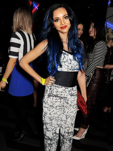 Jade Thirlwall with blue streaked hair