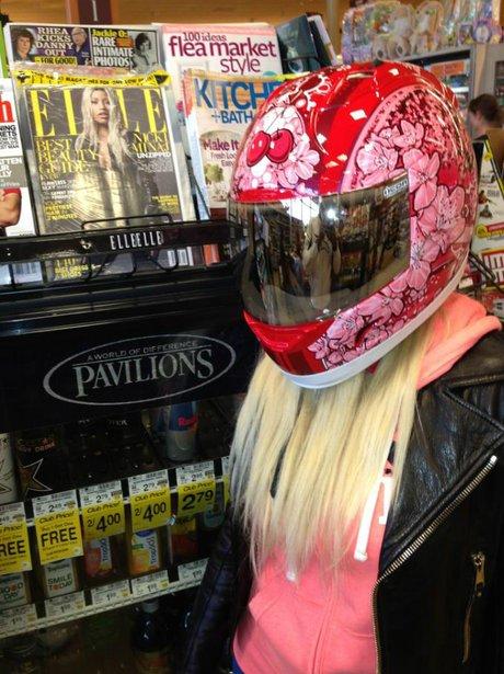 Nicki Minaj wearing a bike helemt
