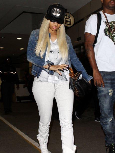 Nicki Minaj wearing t-shirt with her face
