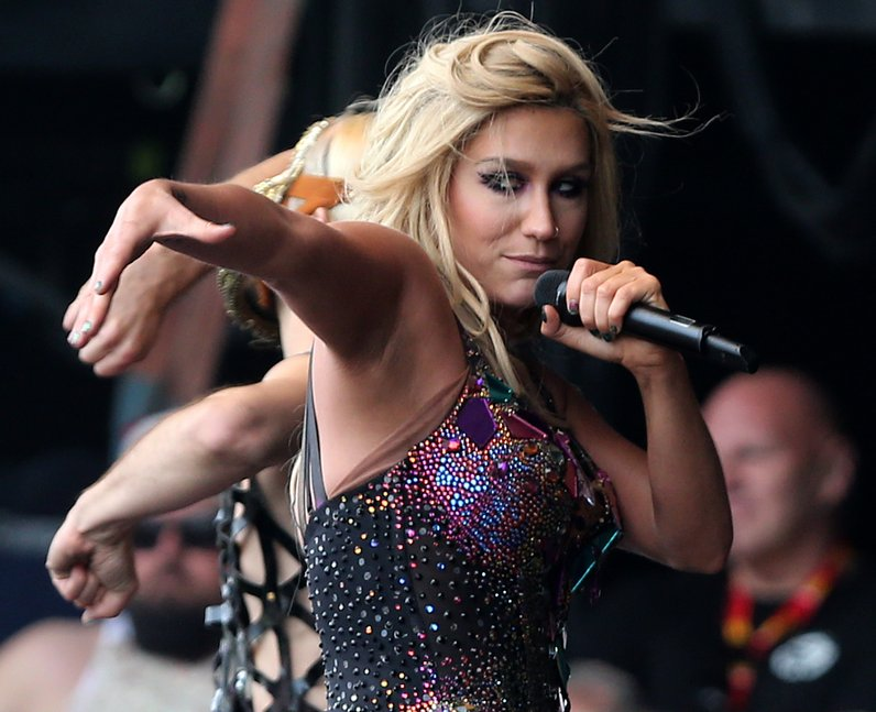 Kesha on stage at T in the Park 2013