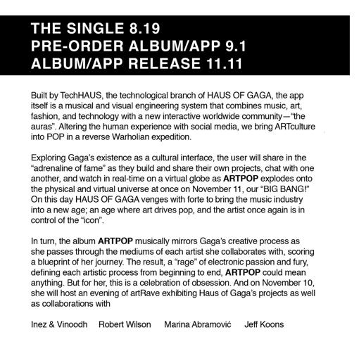 Lady Gaga album details