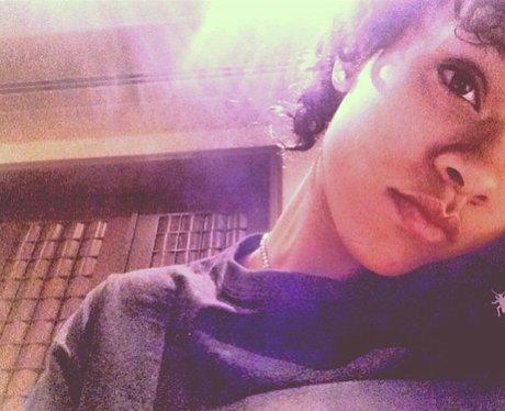 Rihanna with new curly hair