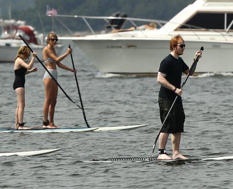 Taylor Swift and Ed Sheeran paddle boarding
