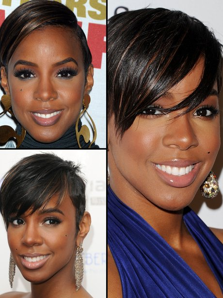 Kelly Rowland showing off her short hair