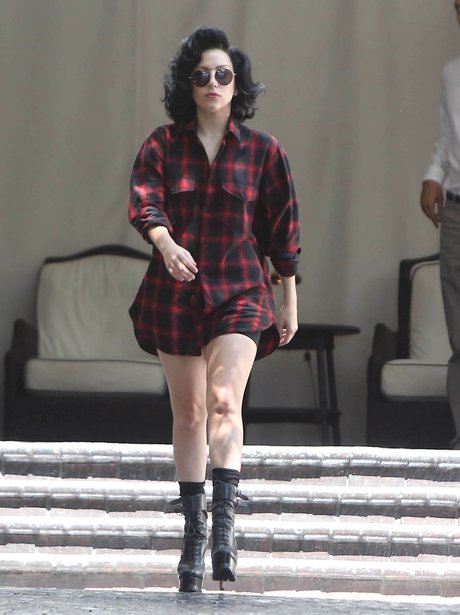 Lady Gaga wearing an oversized shirt