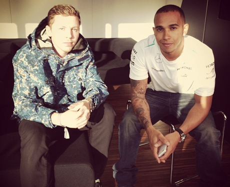 Professor Green and Lewis Hamilton